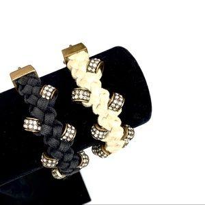 J. CREW braided crystal bronze bead rope bracelet